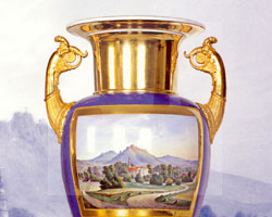 Amphorenvase mit gemalten Ansichten von Schloss Fischbach