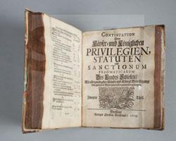Christian Brachvogel: Käyser- und Königl. Das Erb-Hertzogthum Schlesien concernirende Privilegia, Statuta und Sanctiones Pracmaticae. Breßlau 1713. Zweiter Teil Breßlau 1715.