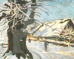 Winterliche Dorfstraße im Riesengebirge