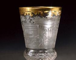 Pokal mit Wappen, Architekturelementen und Gartenszene