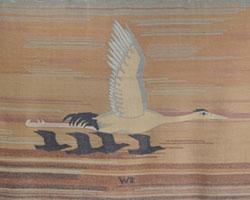 Gobelin mit Kranich und Vögeln