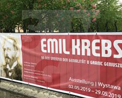 Emil-Krebs-Ausstellung, Banner vor der Annenkapelle, Fot. ABormann