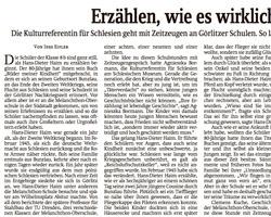 Erzählen, wie es wirklich war - Artikel in der Sächsischen Zeitung vom 16.01.2019 über das Zeitzeugenprojekt